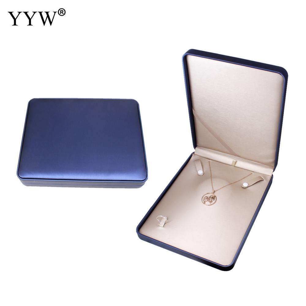 Charming Wedding Bangles Necklace Ring Storage Boxes Case Trendy Blue Velvet Jewelry Set Box Gift Packaging Jewelry Display charming embellished blue rhinestone wedding ring