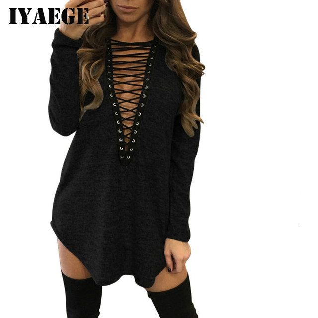 IYAEGE Fashion Autumn Tops Tee Shirts Women T-shirt Sexy Deep V Neck Bandage T Shirt Casual Long Sleeve Female Lace Up Tshirt XL