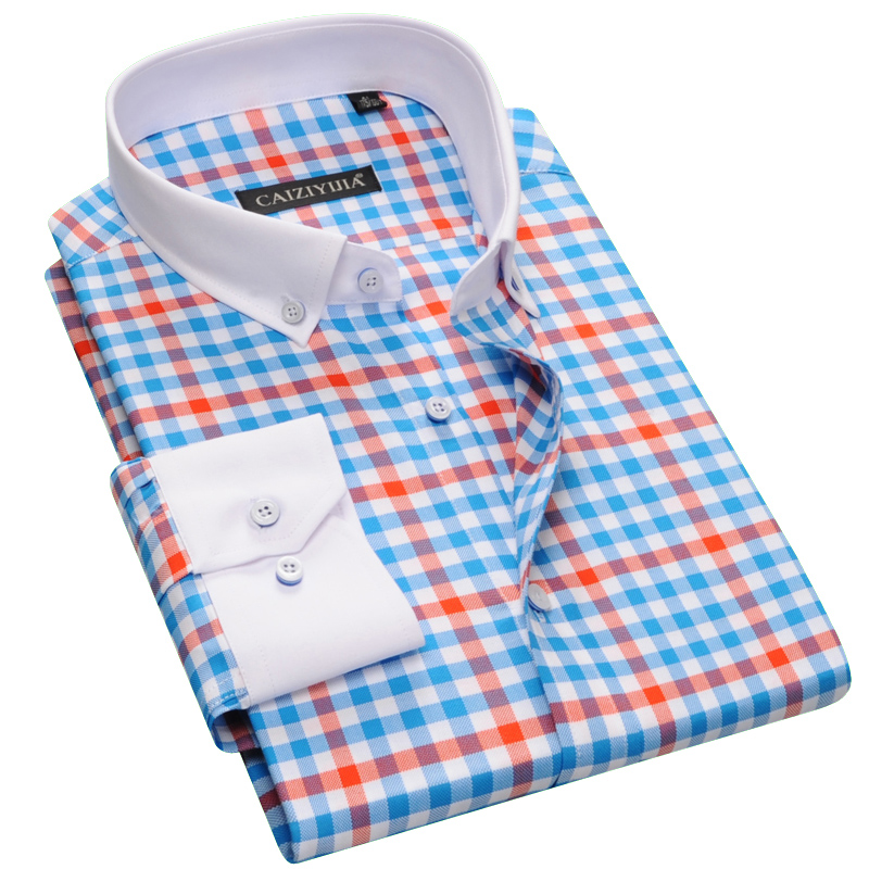 Men's Long Sleeve Plaid Checked camisa social Casual Shirt With White Square Collar Slim fit 100% Cotton Button Down Dress Shirt