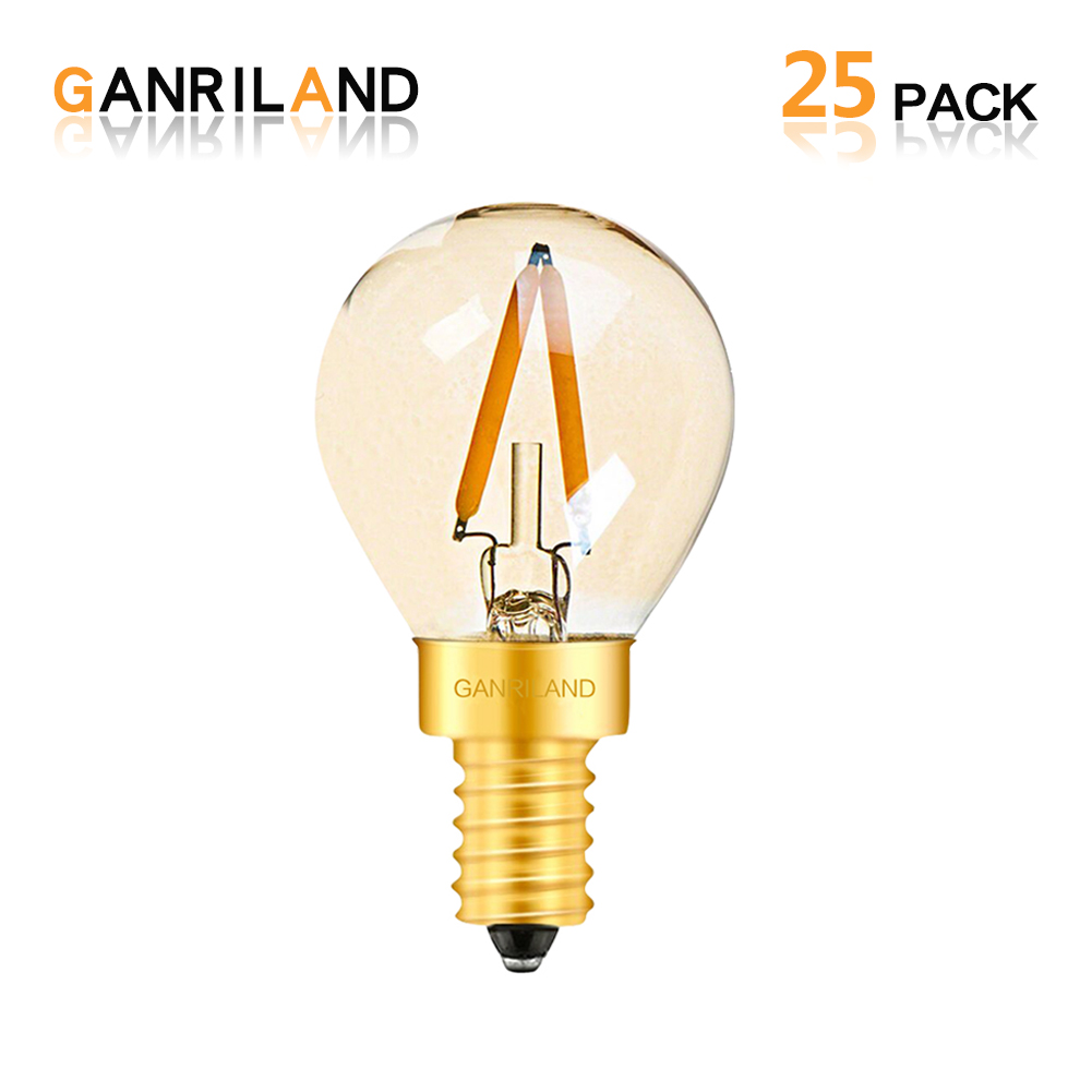 GANRILAND String Lights <font><b>Bulb</b></font> Vintage Edison <font><b>Led</b></font> Lamp E14 220V <font><b>1W</b></font> Retro Dimmable G40 <font><b>Led</b></font> Fairy Light <font><b>Bulb</b></font> 110V For Outdoor Garden image
