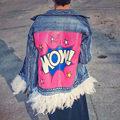 2016 Новая Мода Женщин Осень Джинсовая Куртка Розовый Перо Новая Мода Уличная Съемный Письма Джинсовые Куртки и Пальто B990
