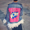 2016 New Fashion Women Autumn Denim Jacket  Pink Feather New Fashion Streetwear Detachable Letters Denim Jacket and Coats B990
