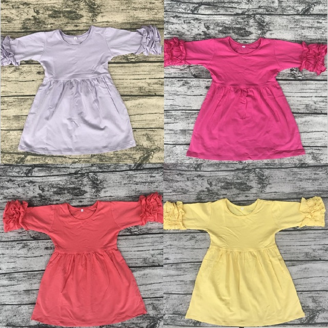 Wholesale children s boutique cotton icing ruffle long sleeve baby girl s  candy color dresses 530ffad214