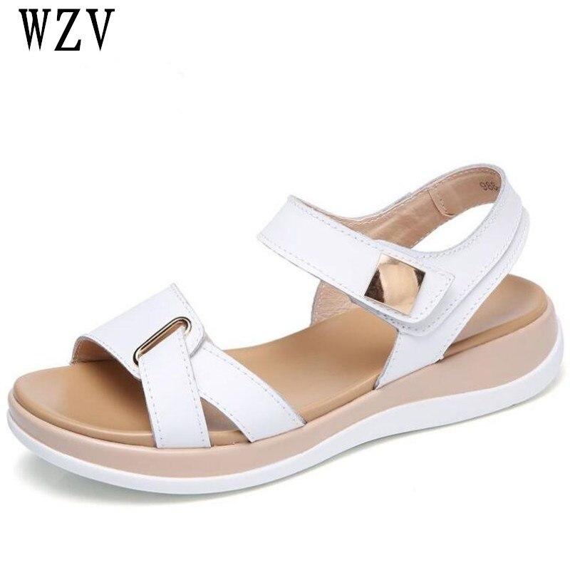 2018 Neue Sommer Frauen Sandalen Flache Schuhe Frau Komfortable Casual Haken Schleife Alias Mujer Frauen Schuhe