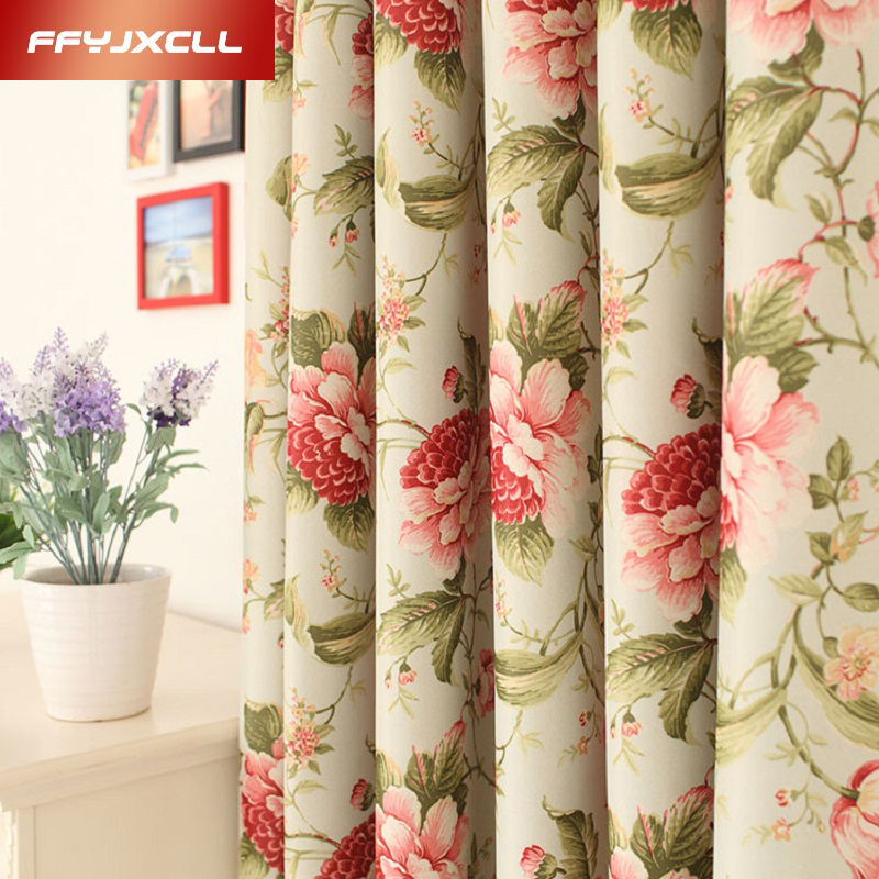 Europe Semi-shading Home Decor Rural Floral Printed Curtains For Living Room Bedroom Window Treatment Drapes Kitchen Tulle
