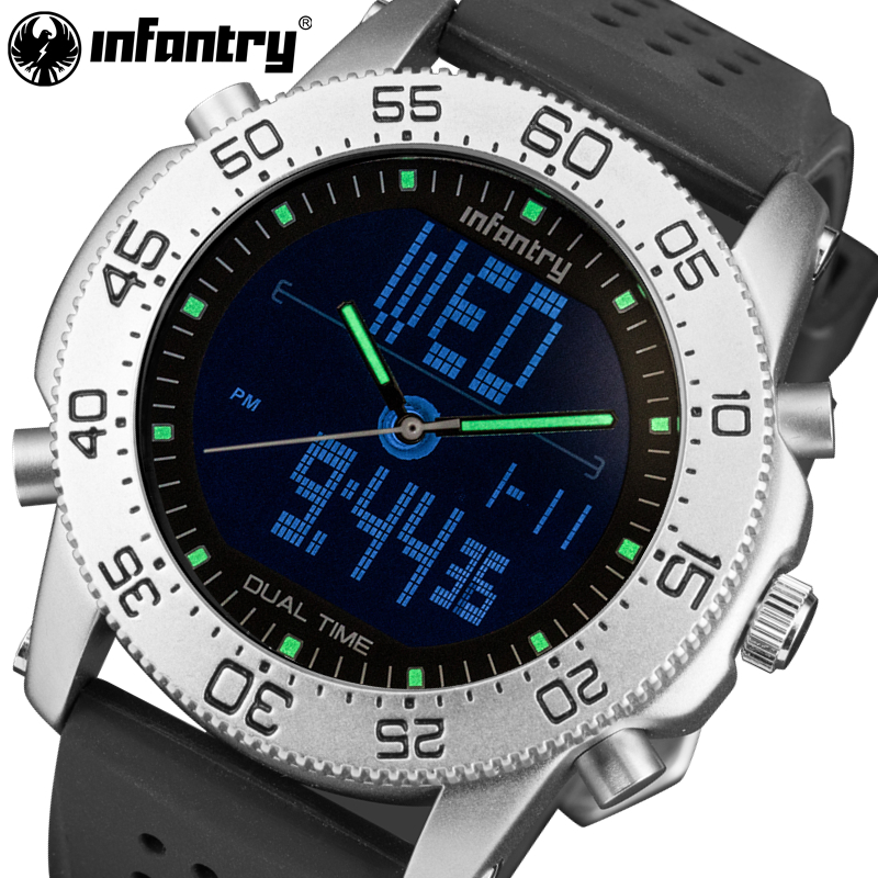INFANTRY Men Sports Watches Rubber Strap Big Dial Military Watches Alarm Clock LED Digital Wristwatches Relogio Masculino skmei men climbing sports digital wristwatches big dial military watches alarm shock resistant waterproof watch 1025