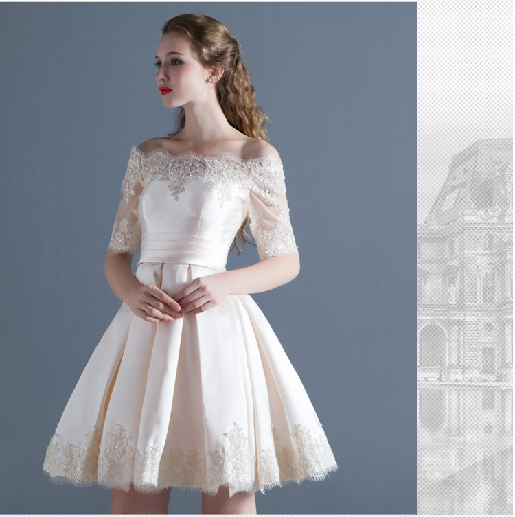 Short Wedding Dress Boat Neck Satin Lace Half Sleeve Simple Wedding Gown Cheap Vestido De Noiva Vintage Sexy Wedding Gown