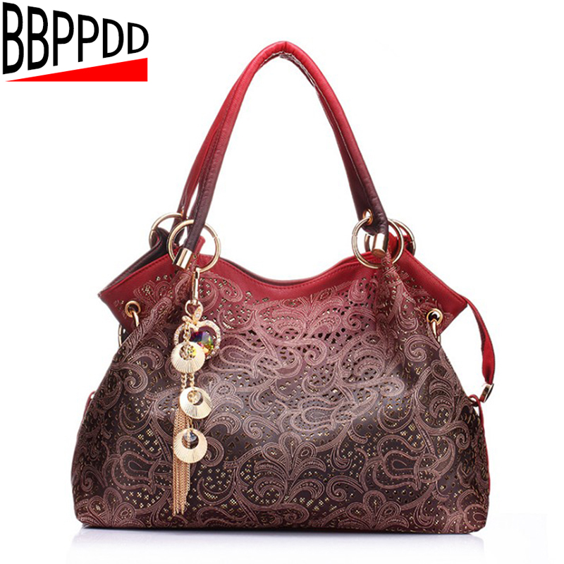 BBPPDD brand women bag hollow out ombre handbag floral print shoulder bags ladies pu leather tote bag red/gray/blue sweet spaghetti strap sleeveless floral print hollow out swimwear for women