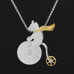 Image 2 - Lotus Fun Real 925 Sterling Silver Handmade Design Fine Jewelry Cute Bicycle Riding Bear Pendant without Necklace for Women