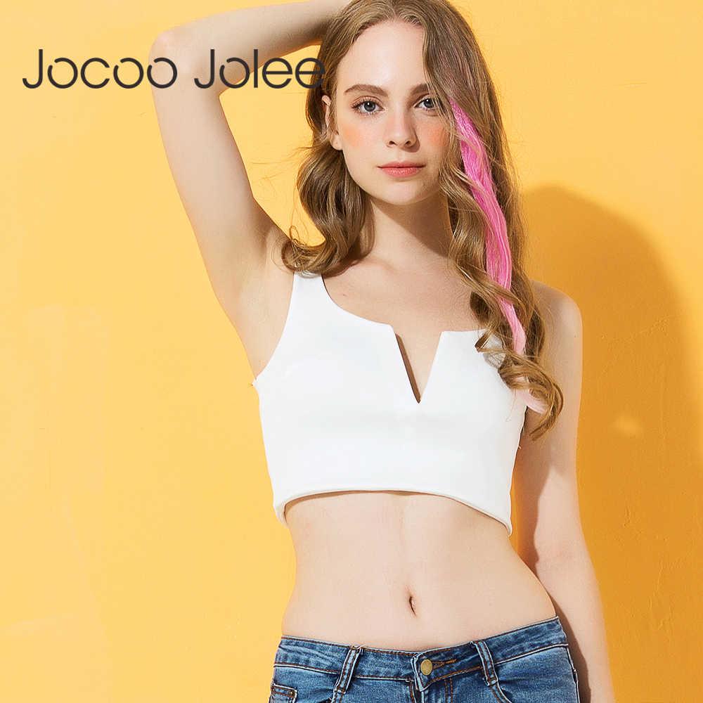 Jocoo Jolee Sexy Diepe V-hals Crop Top Vrouwen Zwart Wit Strap Korte Tank Top Vrouwelijke Mouwloze Party Club Hemdje cami 2018 Hot