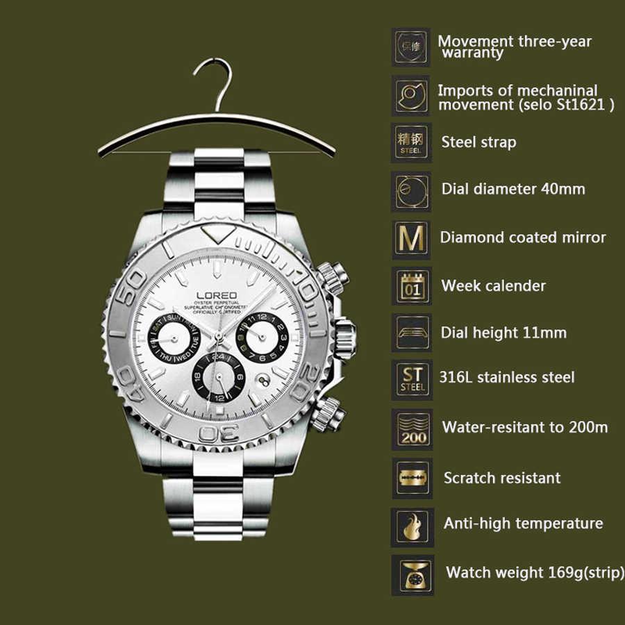 LOREO นาฬิกาข้อมือผู้ชายนาฬิกาข้อมือหรู Sapphire Automatic Mechanical นาฬิกาผู้ชายสแตนเลสสตีลกันน้ำ 200 Blue Dial นาฬิกา