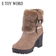 E TOY WORD High Heels Women Winter Boots Fashion Brand Plush Warm Fur Ladies Ankle Botines Mujer