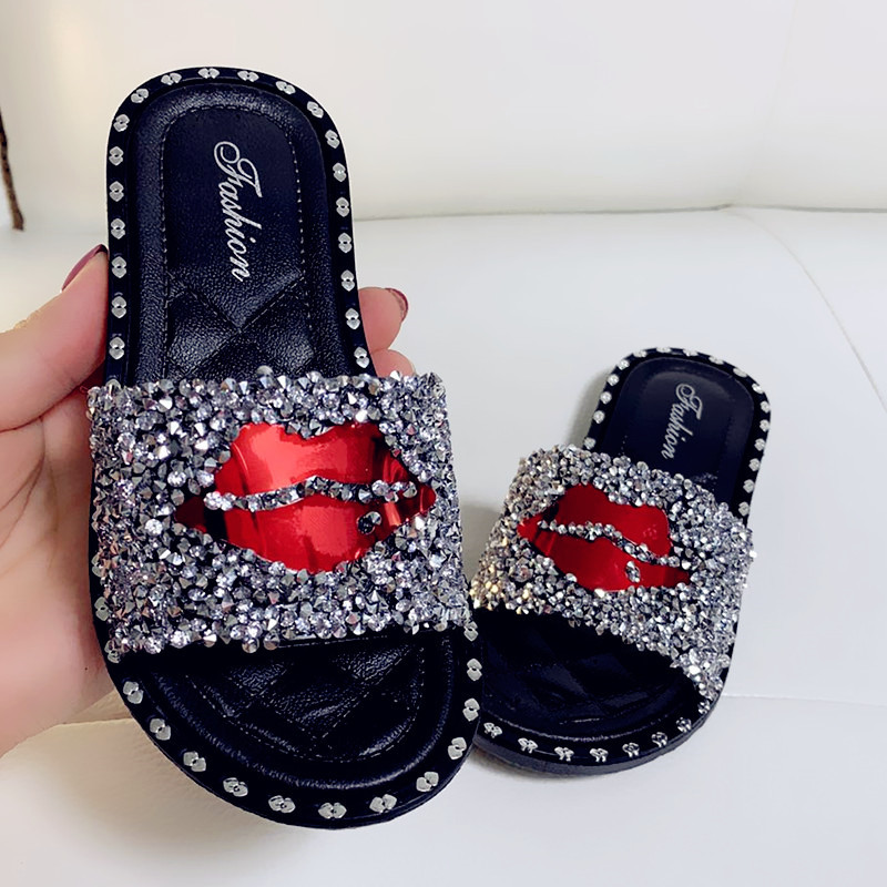 Summer New Kids Slippers For Girls Children's Shoes Diamond Sandal Outdoor Fashion Princess Shoes Glitter Casual House Flip Flop
