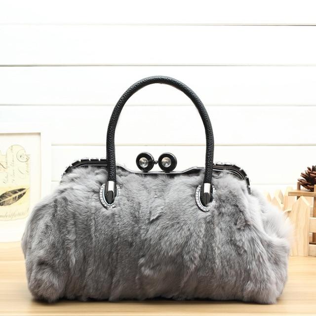 Winter Luxury Diamonds Messenger Bag Genuine Leather Handbags Fashion Woman Real Fur Bags For Las Women
