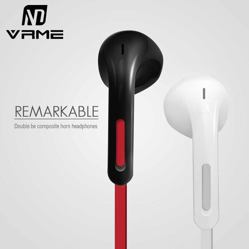 Vrme 3.5mm Jack Sport Headphone Fashion Simple Wired Earphone Bass Stereo with Microphone Headset for iPhone 6 5 Xiaomi Samsung vrme earphone super bass music headset durable wire volume control sport earphones and headphone with microphone for cell phones