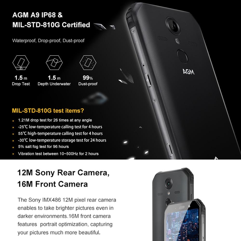 AGM A9 JBL Co Branding 5.99 FHD + 4G + 64G Android 8.1 Robuuste Telefoon 5400 mAh IP68 Waterdichte Smartphone Quad Box Speakers - 2