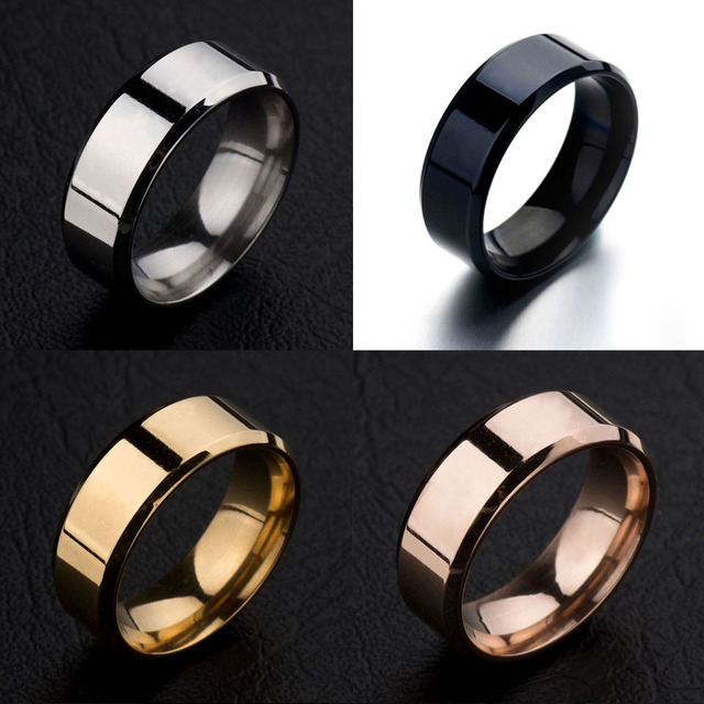 New 4 Colors Black Gold Silver Red Stainless Steel Male Ring Fashion Jewelry Acc
