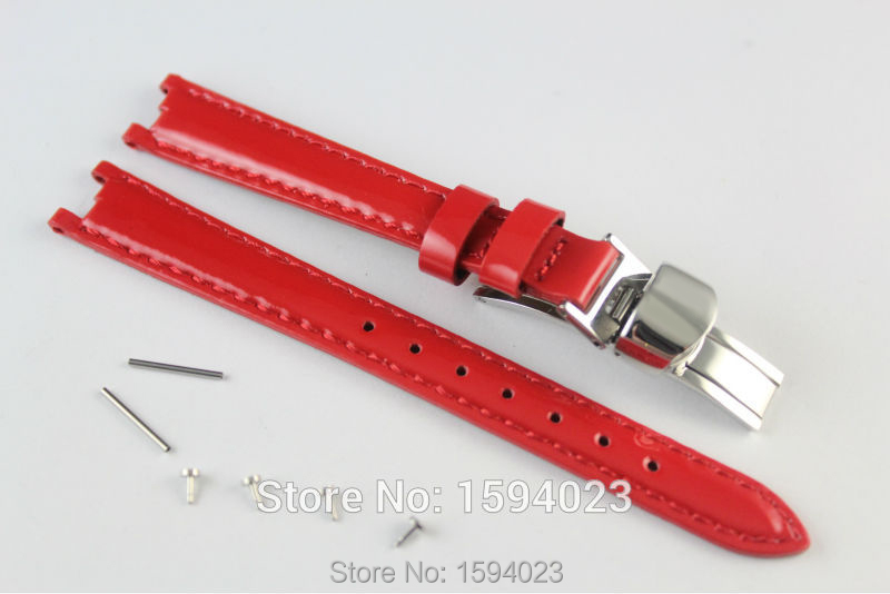 12mm (Buckle10mm) T094210A High Quality Silver Buckle + Red Genuine Leather Coat of paint Watch Bands Strap For T094 t a m 10 alu silver