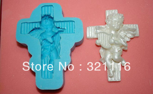 Free Shipping Silicone cake tool,Cross Angel cutter fondant cake decoration,DAB 3d molds,Cake cutter mold for party,TS39067