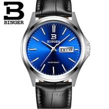 Человек 2016 Швейцария БИНГЕР Часы Мужчины Черный Кожаный Ремешок Кварцевые Часы Спортивные Кварцевые Наручные Часы Люксовый Бренд Часы