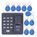 Digital eléctrica RFID lector de código de escáner de dedo sistema de reconocimiento biométrico de huellas digitales de control de acceso sistema X6 + 10 unids keyfobs