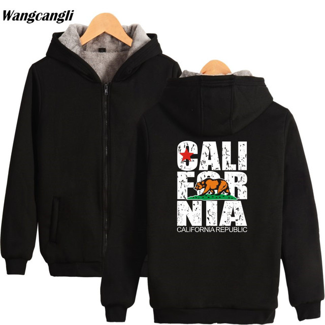 71aa493a CALIFORNIA REPUBLIC winter thicken warm hoodies sweatshirts fleece USA California  Flag hoodie sweatshirt oversize Jacket coat