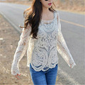 Fashion 2016 Sexy O-neck Novelty Clothes Apparel Summer elegant  lace blouse shirt Women tops Hollow Full sleeve vintage girls
