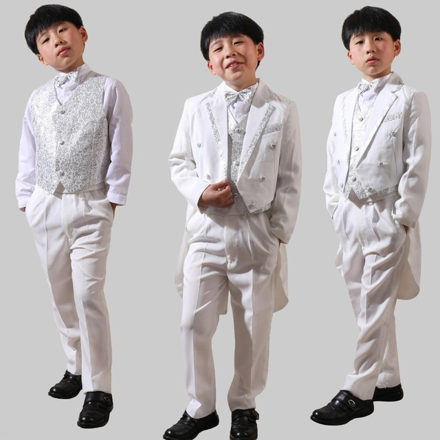 5b2f80d77699 5Pcs Toddler Boys Suit White Formal Tuxedo Long Tail Children ...