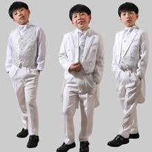 5Pcs Toddler Boys Suit White Formal Tuxedo Long Tail Children Wedding Party