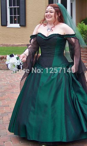 Green Victorian Bustle Steampunk Fantasy Wedding Bridal Gown High