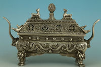 Chinese Tibet Old Silver Bronze Carved Dragon Buddha Incense Burner