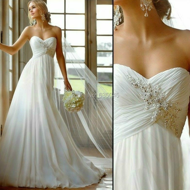 Vestido de Noiva 2016 Novo Estoque EUA Tamanho 2 a 22 Applique branco/Marfim Praia Vestidos de Casamento Vestido Novia Playa Robe De Mariage
