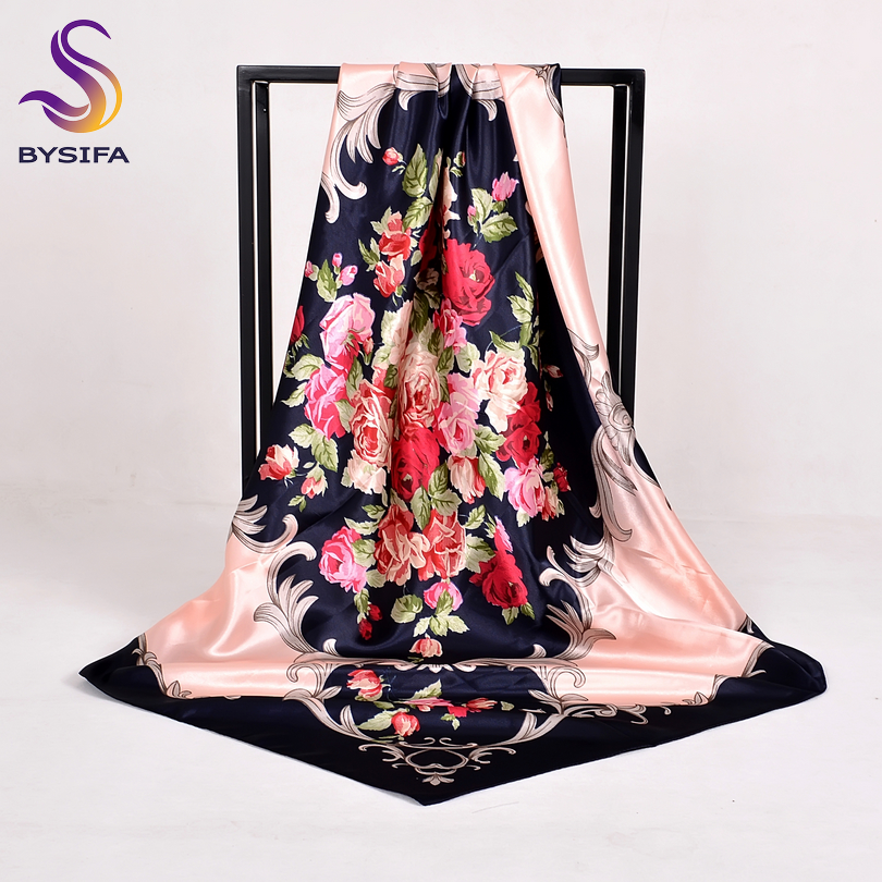 Apparel Accessories Women Rose Silk Scarf Shawl Spring Autumn Large Orange Green Square Scarves Wraps New Design Ladies Head Scarf Cape Fashionable Patterns bysifa