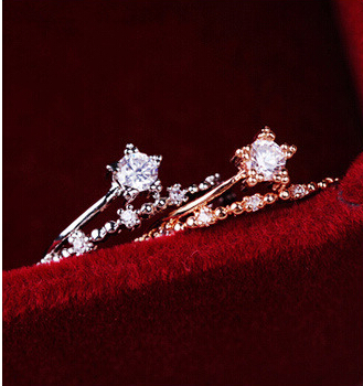 New Hot Korea Zircon Wedding Ring Women Personality Fashion OL Simple Five-pointed Star Sweet Rings Jewelry