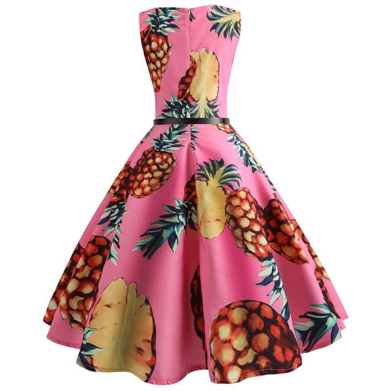 e26f2a5c6b924 Flower Floral Pineapple Vintage Dress Women Sexy Sleeveless A Line Club  Party Dresses 50s 60s Retro Rockabilly Big Swing Dress