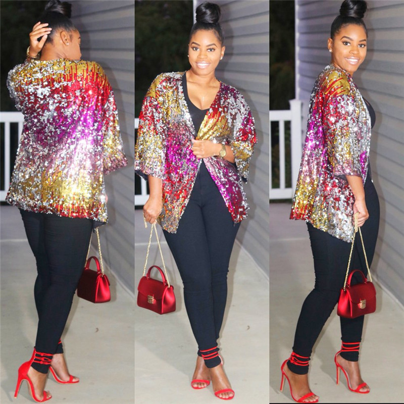 2018 Rainbow Sequin   Jacket   and Coats Women Fashion Party   Basic   Coats Outwear Sparkly Open Front Kimono Cardigan Autumn   Jacket