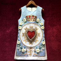 Svoryxiu Runway Custom Summer Jacquard Dress Women's luxurious Beading Crystal Appliques Printed Party Sleeveless Short Dress