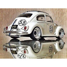 "DIY 5D Square Diamond Painting Cross Stitch,""white VW car"",full square,auto car,full round diamond embroidery D1653(China)"