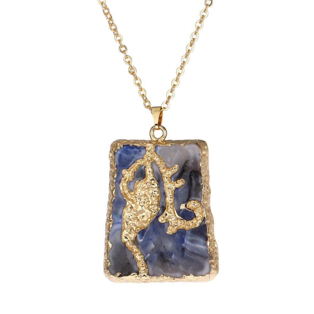 de98ef6518ac Nuevas mujeres Colgantes collar druzy largo negro azul piedra gargantilla  cobre textura de oro cadena Boho joyas vintage colar feminino
