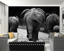 beibehang Custom Wallpaper 3D Black and white African elephant animal Modern Abstract Art Wall Mural Living Room 3d