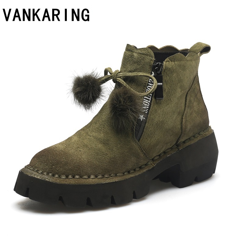 VANKARING hot brand shoes fashion genuine leather women ankle boots shoes high heels round toe shoes