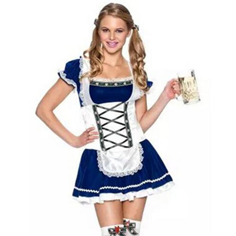 High Quality German Beer Maid Costume Blue Oktoberfest Dirndl Costume Adult Women Halloween Party Dress