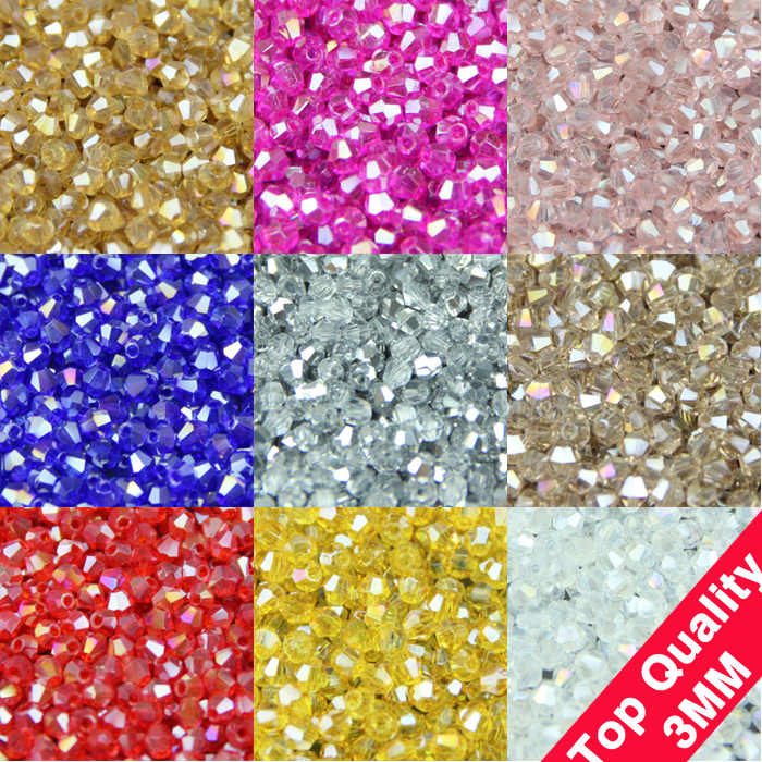JHNBY 3mm 200 piezas AAA Bicone de lujo de cristales austriacos cuentas AB Chapado en color pulsera de cuentas sueltas accesorios de fabricación de joyas DIY