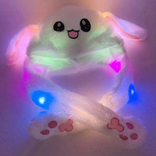 MrY Newly Cute funny Moving Rabbit Ear plush Hat Airbag Cap LED Plush toys Ear Up Down soft airbag cap Toy for Girls Kids gift(China)
