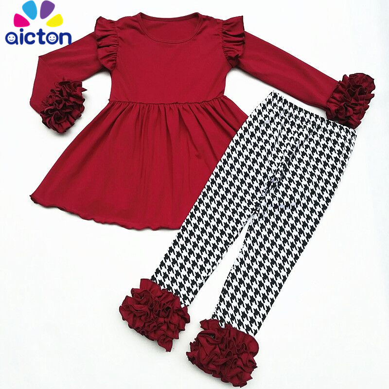 AICTON FALLWinter girls outfits 2pieces Wine Red Solid top ruffle long sleeve pant boutique children cotton clothes kids wear