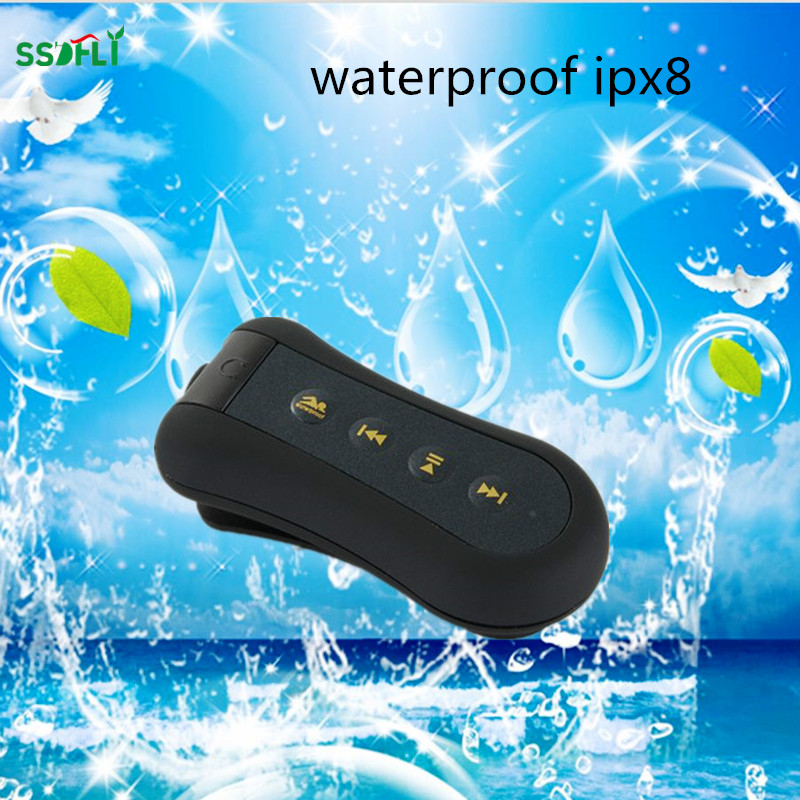 цена на ssdfly Mini portable ipx8 waterproof MP3 player clip stereo sports MP3 diving swimming dedicated MP3 8GB FM radio
