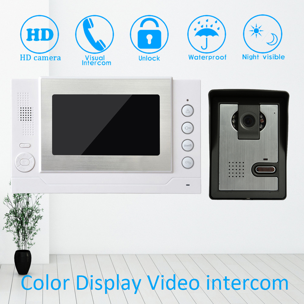 7 TFT LCD Color Display 1 to 1 Wire Video Door Phone System Talkback Doorbell Night vision function Unlock Intercom7 TFT LCD Color Display 1 to 1 Wire Video Door Phone System Talkback Doorbell Night vision function Unlock Intercom