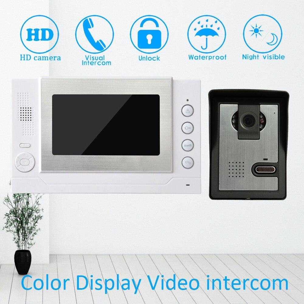 7'' TFT LCD Color Display 1 to 1 Wire Video Door Phone System doorbell Talkback Doorbell Night vision function Unlock Intercom intercom wired - title=