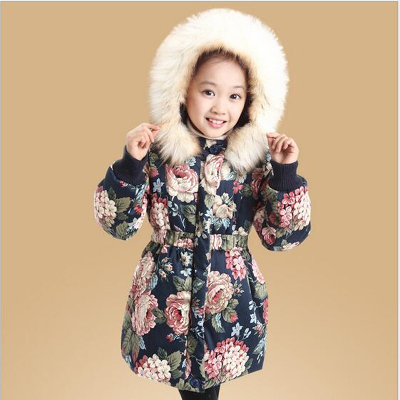 2018 Brand Retail Fashion Girls Winter Print Flower Coat Warm With Thick Cotton-Padded Fur Collar Waistband Jacket Kids Outwear stand collar 3d stars and striped print zip up padded jacket