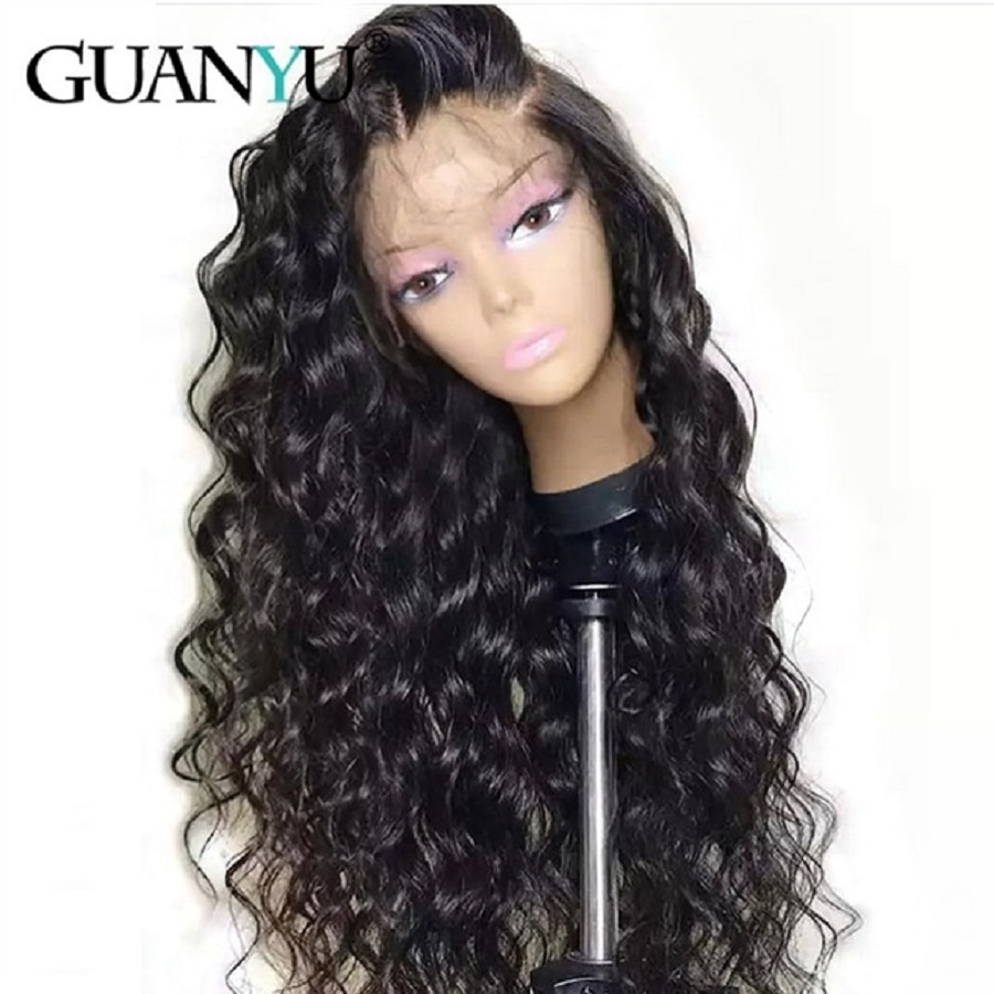 13*4 Brazilian Deep Wave Human Hair Wigs Remy Hair Lace Front Wigs With Baby Hair For Black Women 150% Density Natural Color